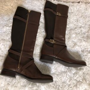 Cole Haan 8 leather riding boots gold buckle